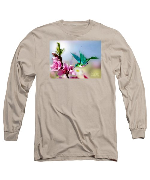 Pretty Hummingbird Long Sleeve T-Shirt by Morag Bates