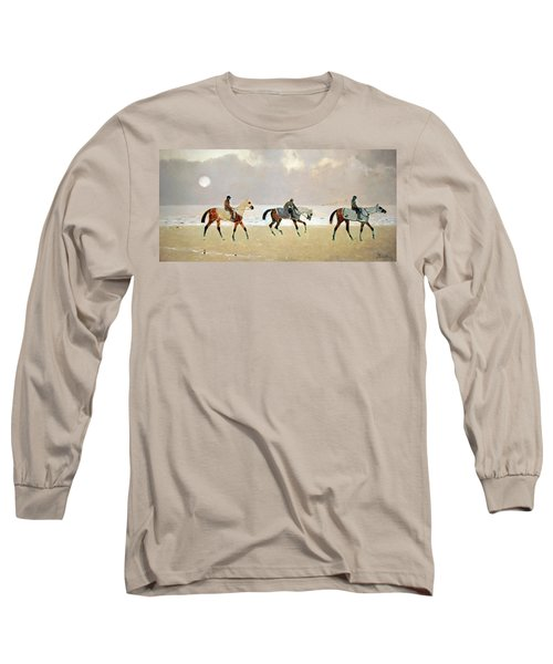 Princeteau's Riders On The Beach At Dieppe Long Sleeve T-Shirt by Cora Wandel