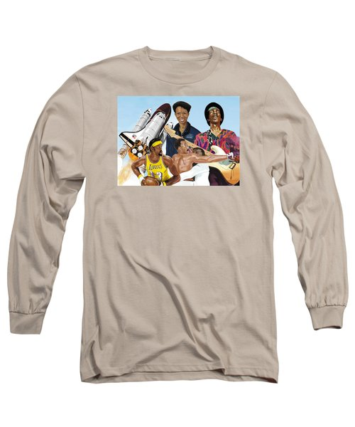 Long Sleeve T-Shirt featuring the digital art Jimi, Muhammad Ali, Wilt Chamberlain And Mae Carol Jemison by Thomas J Herring