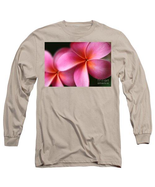 Long Sleeve T-Shirt featuring the photograph Pua Lei Aloha Cherished Blossom Pink Tropical Plumeria Hina Ma Lai Lena O Hawaii by Sharon Mau