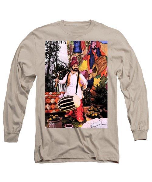 Long Sleeve T-Shirt featuring the digital art Punjabi Dhol by Bliss Of Art