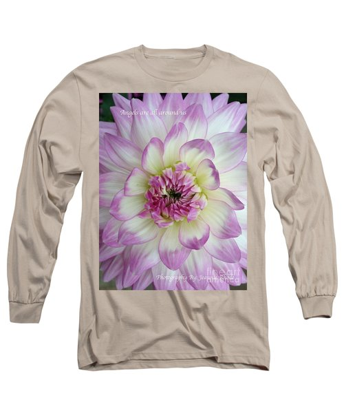 Long Sleeve T-Shirt featuring the photograph Purple And Cream Dahlia by Jeannie Rhode