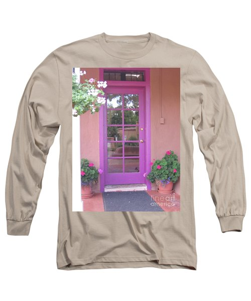 Long Sleeve T-Shirt featuring the photograph Purple Door by Dora Sofia Caputo Photographic Art and Design