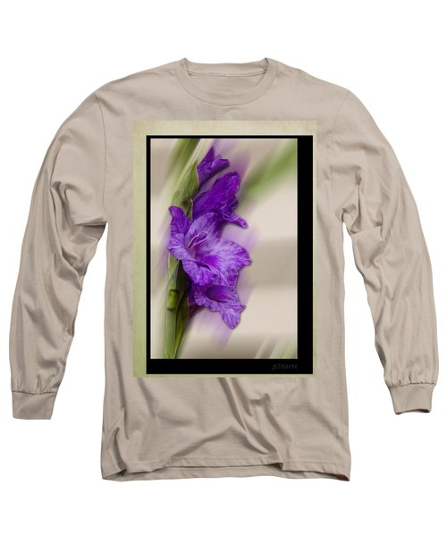 Purple Gladiolus Long Sleeve T-Shirt by Patti Deters