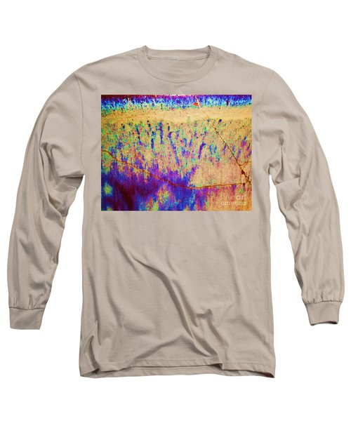 Purple Tan Stone Abstract Long Sleeve T-Shirt by Eric  Schiabor