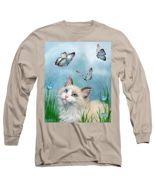 Long Sleeve T-Shirt featuring the mixed media Ragdoll Kitty And Butterflies by Carol Cavalaris