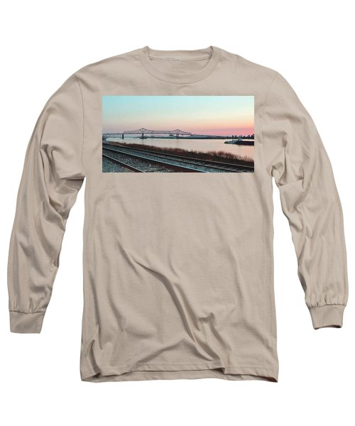 Long Sleeve T-Shirt featuring the photograph Rail Along Mississippi River by Charlotte Schafer