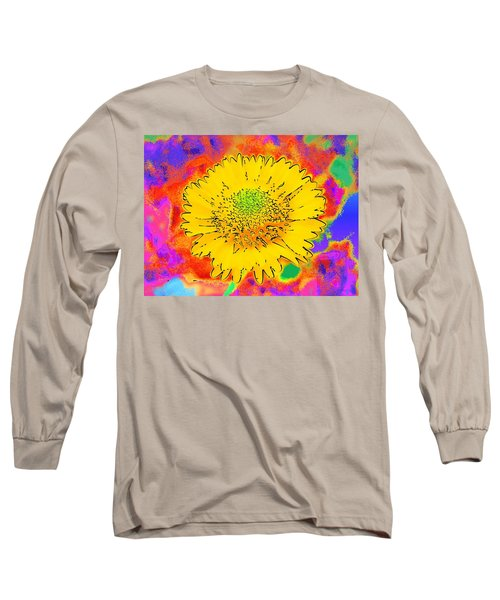 Long Sleeve T-Shirt featuring the painting Rainbow Colored Sunshine Flower- Because I'm Happy by David Mckinney