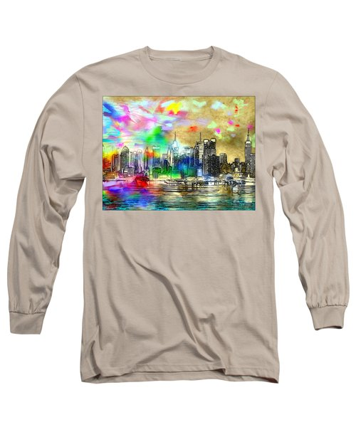 Rainbow Nyc Skyline Long Sleeve T-Shirt