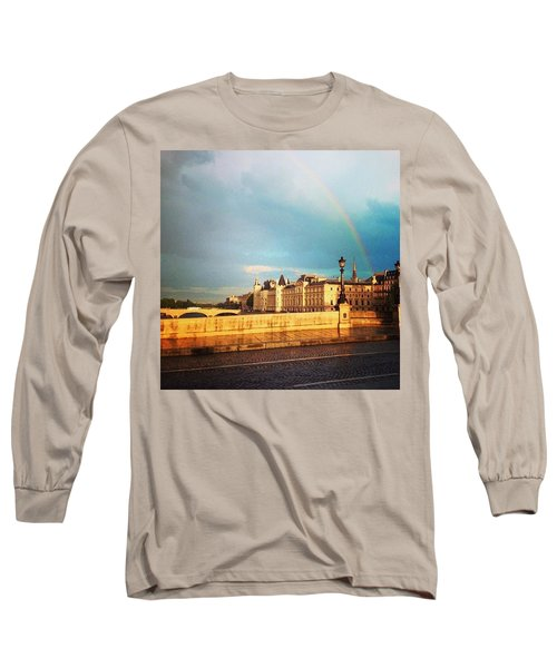Rainbow Over The Seine. Long Sleeve T-Shirt by Allan Piper
