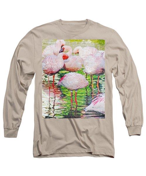 Rainy Day Flamingos 2 Long Sleeve T-Shirt