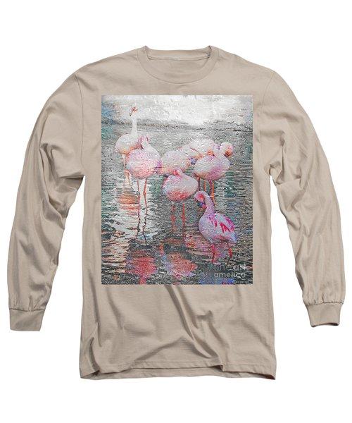 Rainy Day Flamingos Long Sleeve T-Shirt