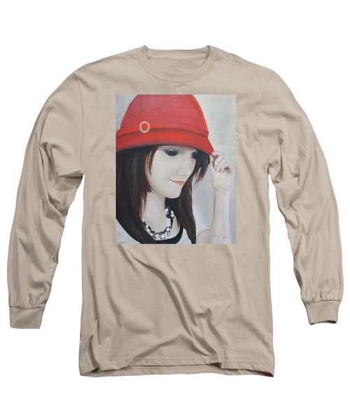 Rebecca's Red Hat Long Sleeve T-Shirt by Patricia Olson