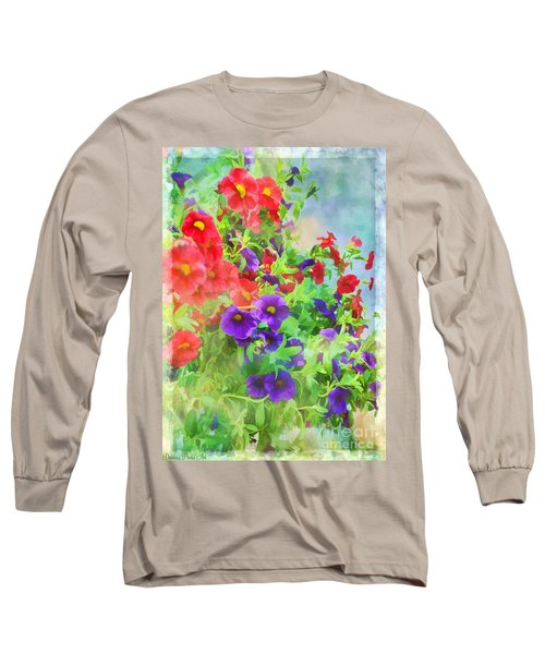Red And Purple Calibrachoa - Digital Paint I Long Sleeve T-Shirt by Debbie Portwood