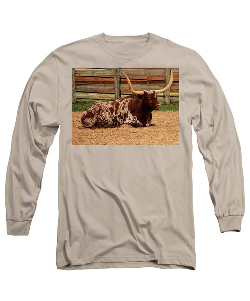 Red And White Texas Longhorn Long Sleeve T-Shirt