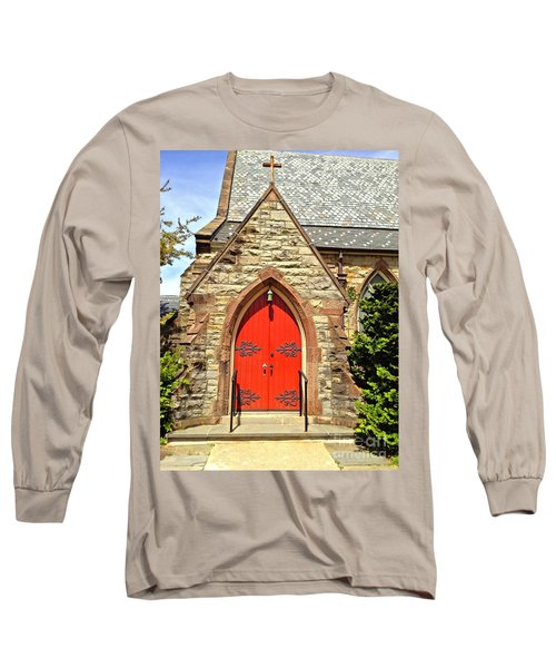 Long Sleeve T-Shirt featuring the photograph Red Arch Church Door 1 by Becky Lupe