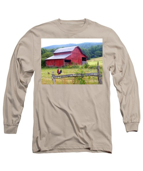 Red Barn And Rooster Long Sleeve T-Shirt
