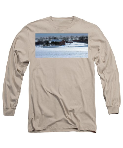Red Barn In Snow Cover Long Sleeve T-Shirt