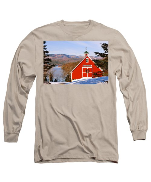 Red Barn On Newfound Lake Long Sleeve T-Shirt
