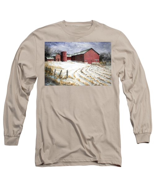 Long Sleeve T-Shirt featuring the painting Red Barn On Rt. 49 by Roger Rockefeller