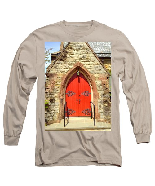 Long Sleeve T-Shirt featuring the photograph Red Church Door by Becky Lupe