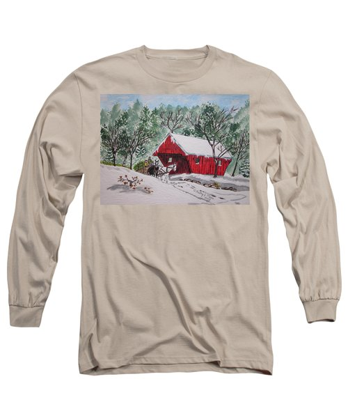 Red Covered Bridge Christmas Long Sleeve T-Shirt by Kathy Marrs Chandler