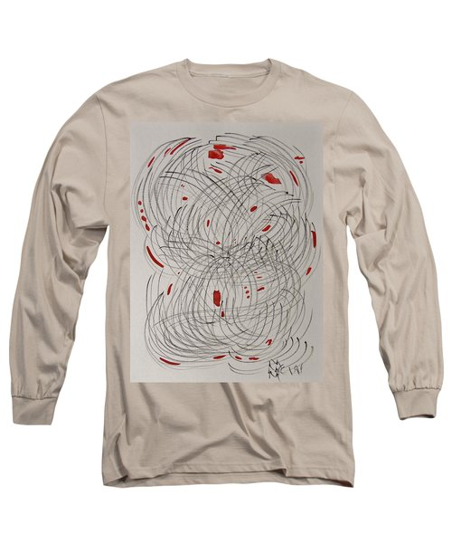 Red Fan Long Sleeve T-Shirt by Mary Carol Williams