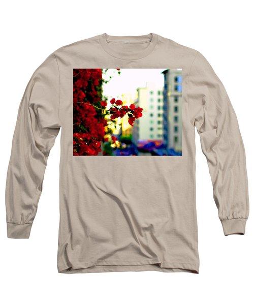 Red Flowers Downtown Long Sleeve T-Shirt by Matt Harang