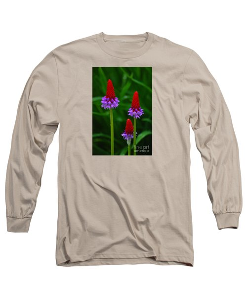 Red Hot Pokers Long Sleeve T-Shirt by Cynthia Lagoudakis