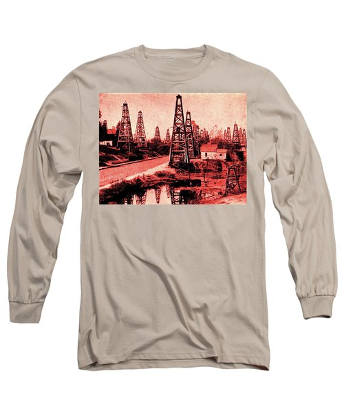 Long Sleeve T-Shirt featuring the drawing Red Indiana Oil Wells Circa 1900 by Peter Gumaer Ogden
