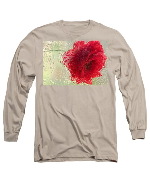 Red Rose In The Rain Long Sleeve T-Shirt