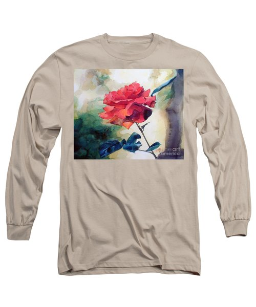 Watercolor Of A Single Red Rose On A Branch Long Sleeve T-Shirt