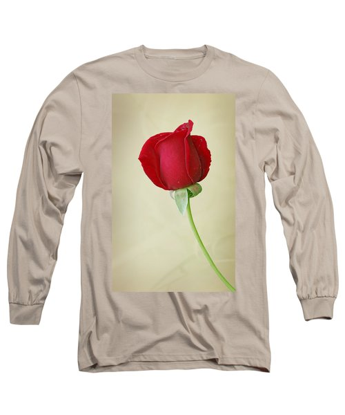 Red Rose On White Long Sleeve T-Shirt by Sandy Keeton