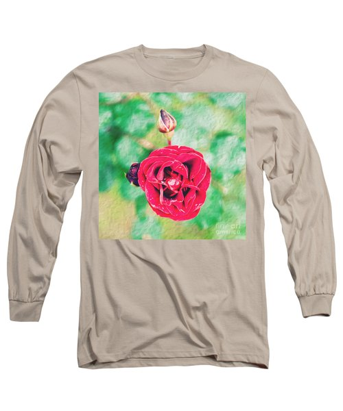 Long Sleeve T-Shirt featuring the photograph Red Rose by Yew Kwang