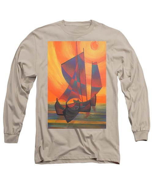 Long Sleeve T-Shirt featuring the painting Red Sails In The Sunset by Tracey Harrington-Simpson