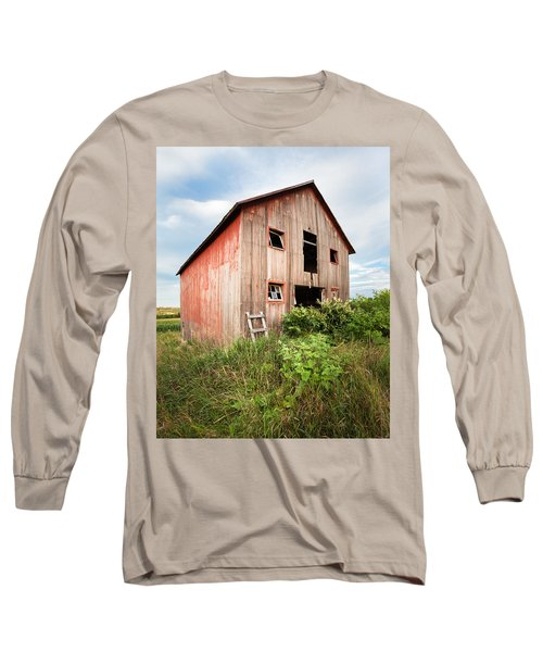 Long Sleeve T-Shirt featuring the photograph Red Shack On Tucker Rd - Vertical Composition by Gary Heller