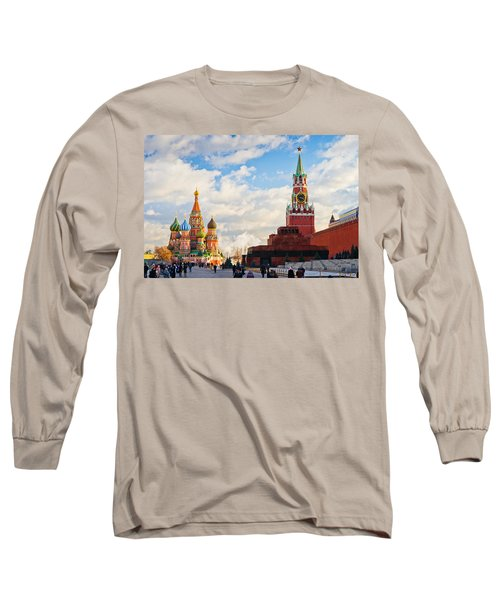Red Square Of Moscow - Featured 3 Long Sleeve T-Shirt by Alexander Senin