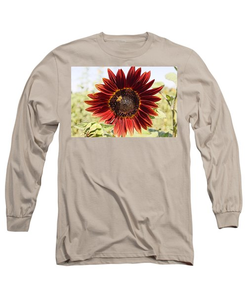 Red Sunflower And Bee Long Sleeve T-Shirt