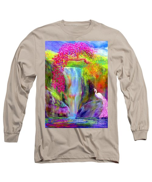 Waterfall And White Peacock, Redbud Falls Long Sleeve T-Shirt