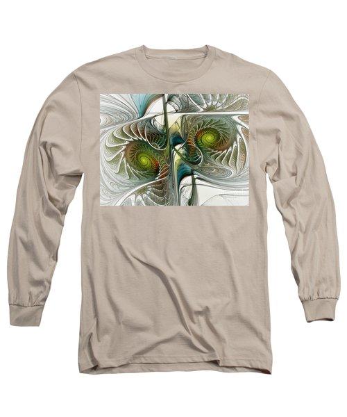 Reflected Spirals Fractal Art Long Sleeve T-Shirt