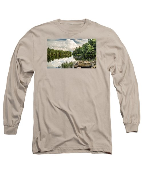Long Sleeve T-Shirt featuring the photograph Reflection Lake In New York by Debbie Green