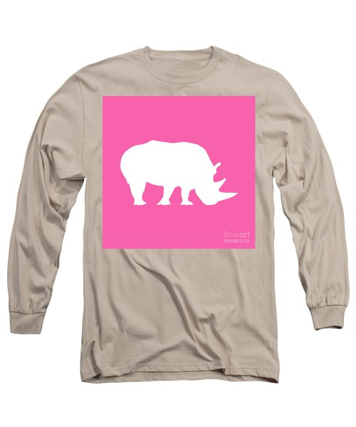 Rhino In Pink And White Long Sleeve T-Shirt