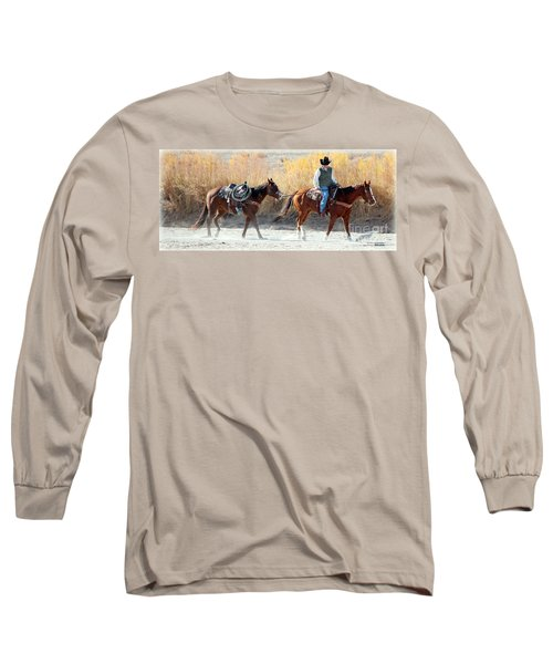 Long Sleeve T-Shirt featuring the photograph Rio Grande Cowboy by Barbara Chichester