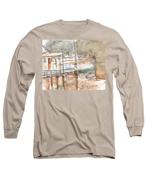 Long Sleeve T-Shirt featuring the painting River Boat  by Teresa White