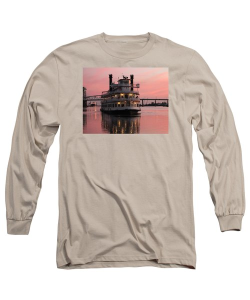 Riverboat At Sunset Long Sleeve T-Shirt by Cynthia Guinn