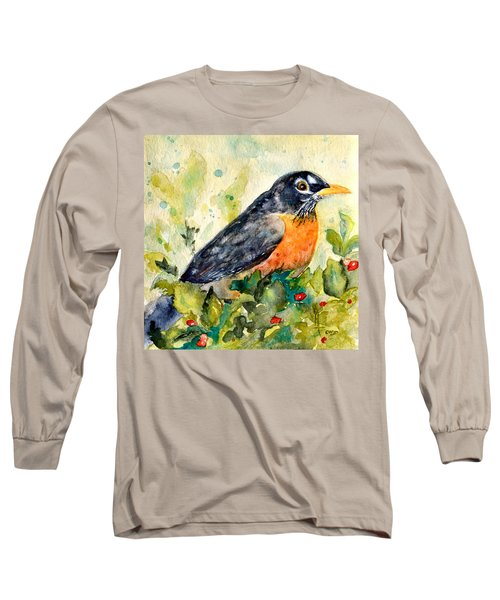 Long Sleeve T-Shirt featuring the painting Robin In The Holly by Beverley Harper Tinsley