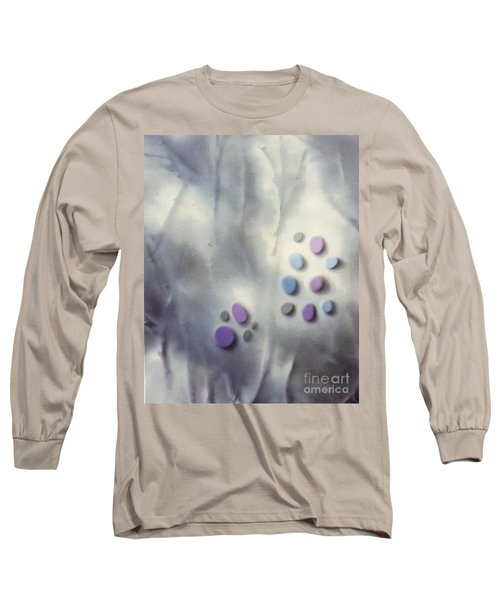 Rock Painting Lavender And Gray With Twigs Long Sleeve T-Shirt