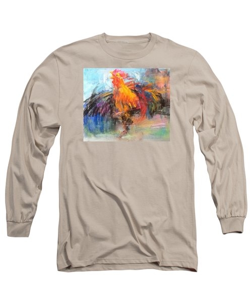 Long Sleeve T-Shirt featuring the painting Rooster by Jieming Wang