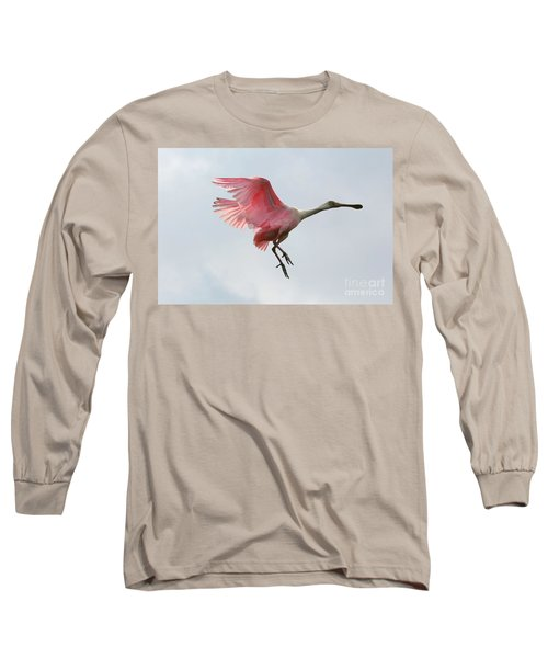 Roseate Spoonbill In Flight Long Sleeve T-Shirt by Carol Groenen