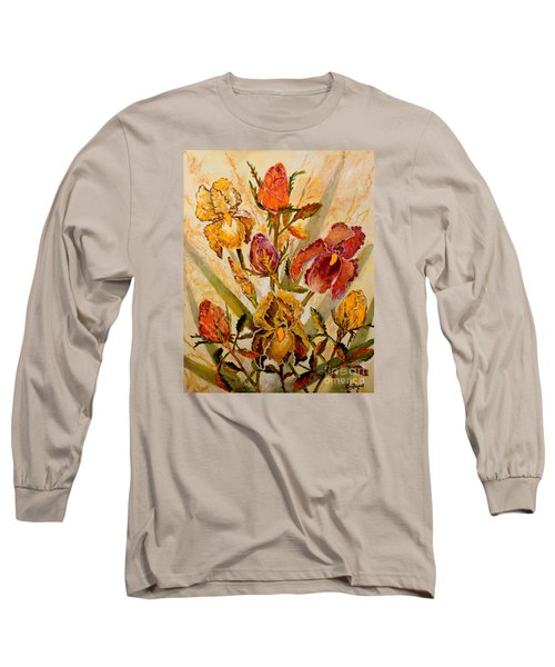 Roses And Irises Long Sleeve T-Shirt by Lou Ann Bagnall